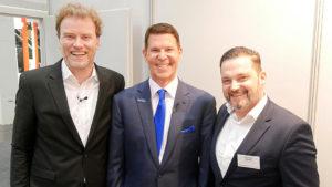 JDB ContentWerft-Gründer Jens de Buhr, Internetpionier und DocuSign-Chef Keith Krach und Thomas Eilrich, Chefredakteur DUB UNTERNEHMER-Magazin (v. li.)
